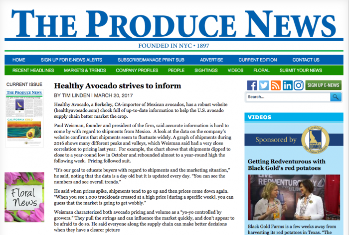 The Produce News article: Healthy Avocado strives to inform